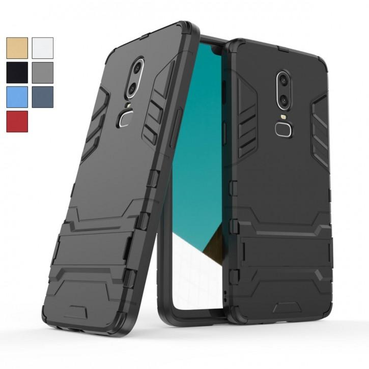 COOVY® Cover für Oneplus 6 Bumper Case, Doppelschicht aus Plastik + TPU-Silikon, extra stark, Anti-Shock, Standfunktion