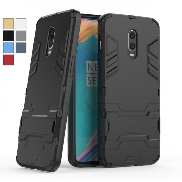 COOVY® Cover für Oneplus 6T Bumper Case, Doppelschicht aus Plastik + TPU-Silikon, extra stark, Anti-Shock, Standfunktion