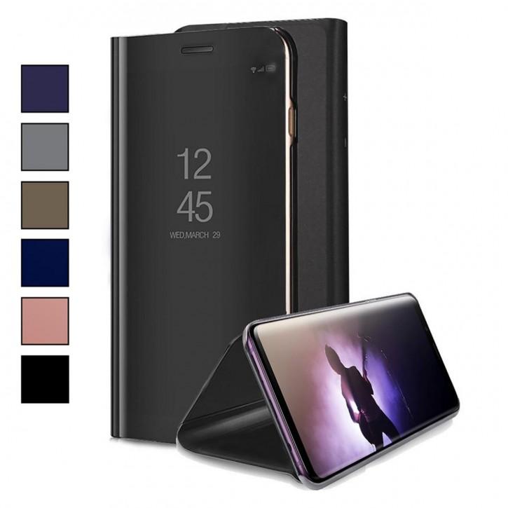 COOVY® Cover für Samsung Galaxy J7 Duo SM-J720 / SM-J720F/DS (Model 2018) Bookstyle, metallic Optik, Clear View, luxuriöses, durchsichtiges Spiegel Fenster Case, Standfunktion
