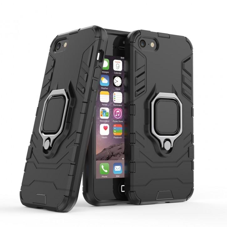 COOVY® Cover für Apple iPhone 5 / 5s / 5c / SE Bumper Case, Plastik + TPU-Silikon, extra stark, Anti-Shock, Stand Funktion + Magnethalter