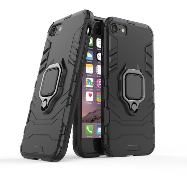 COOVY® Cover für Apple iPhone 7 / 8 Bumper Case, Plastik + TPU-Silikon, extra stark, Anti-Shock, Stand Funktion + Magnethalter