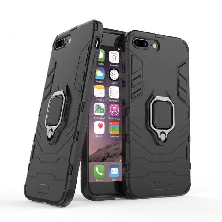 COOVY® Cover für Apple iPhone 7 + plus / 8 + plus Bumper Case, Plastik + TPU-Silikon, extra stark, Anti-Shock, Stand Funktion + Magnethalter