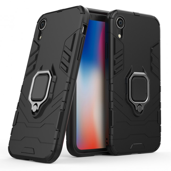 COOVY® Cover für Apple iPhone Xr Bumper Case, Plastik + TPU-Silikon, extra stark, Anti-Shock, Stand Funktion + Magnethalter kompatibel |