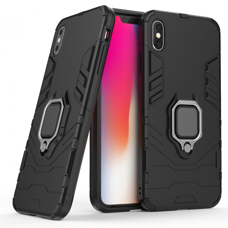 COOVY® Cover für Apple iPhone Xs Max Bumper Case, Plastik + TPU-Silikon, extra stark, Anti-Shock, Stand Funktion + Magnethalter