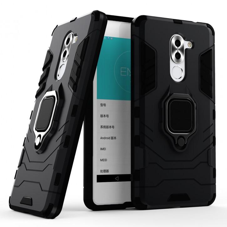 COOVY® Cover für Huawei Honor 6x / Mate 9 lite / GR5 2017 Bumper Case, Plastik + TPU-Silikon, extra stark, Anti-Shock, Stand Funktion + Magnethalter kompatibel |