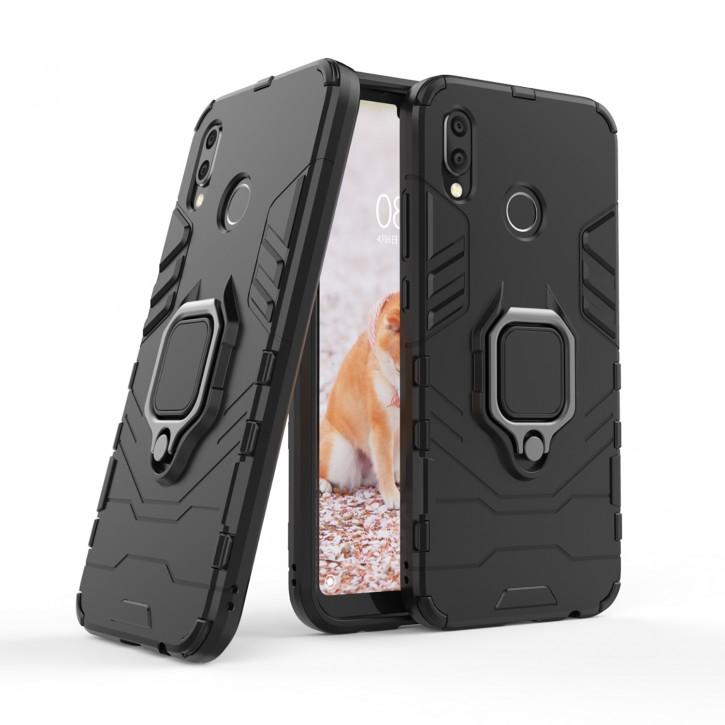 COOVY® Cover für Huawei P20 lite Bumper Case, Plastik + TPU-Silikon, extra stark, Anti-Shock, Stand Funktion + Magnethalter kompatibel |