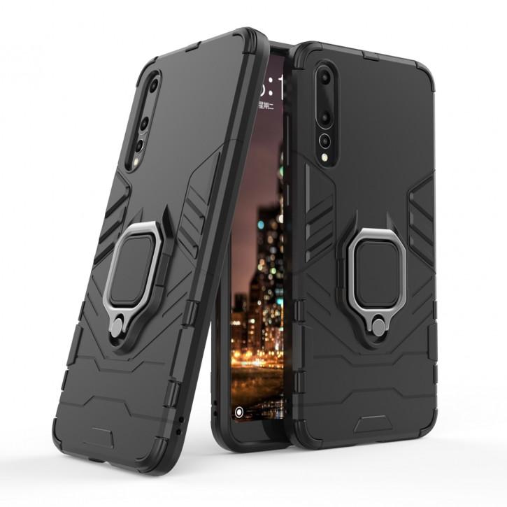 COOVY® Cover für Huawei P20 pro Bumper Case, Plastik + TPU-Silikon, extra stark, Anti-Shock, Stand Funktion + Magnethalter kompatibel |