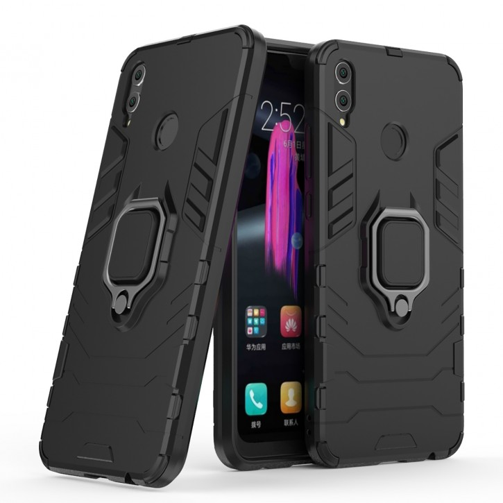 COOVY® Cover für Huawei Honor 8X / Honor View 10 lite Bumper Case, Plastik + TPU-Silikon, extra stark, Anti-Shock, Stand Funktion + Magnethalter