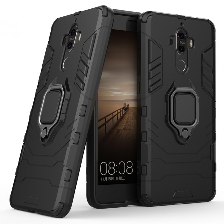COOVY® Cover für Huawei Mate 9 Bumper Case, Plastik + TPU-Silikon, extra stark, Anti-Shock, Stand Funktion + Magnethalter