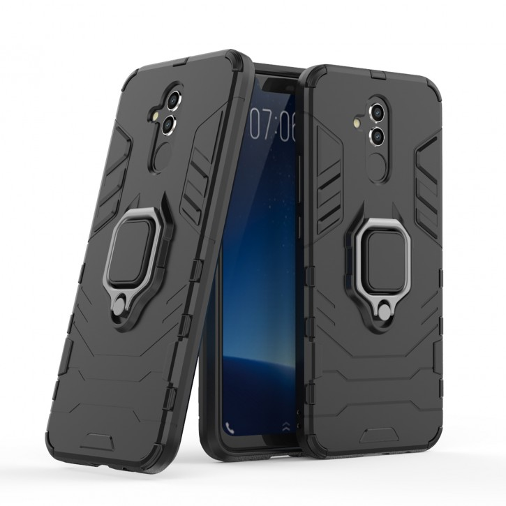 COOVY® Cover für Huawei Mate 20 lite Bumper Case, Plastik + TPU-Silikon, extra stark, Anti-Shock, Stand Funktion + Magnethalter