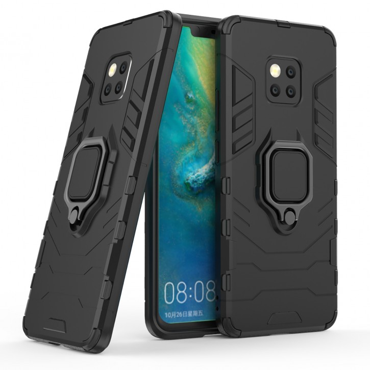 COOVY® Cover für Huawei Mate 20 pro Bumper Case, Plastik + TPU-Silikon, extra stark, Anti-Shock, Stand Funktion + Magnethalter