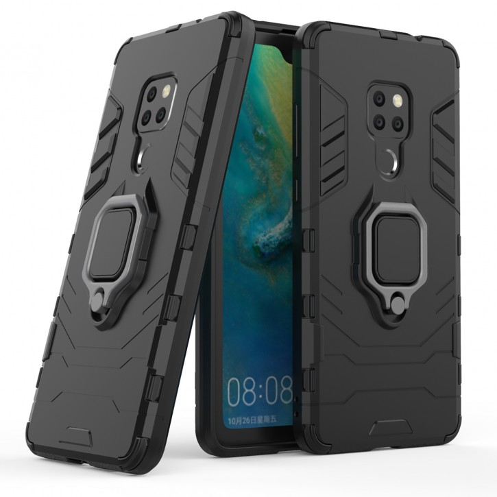 COOVY® Cover für Huawei Mate 20 Bumper Case, Plastik + TPU-Silikon, extra stark, Anti-Shock, Stand Funktion + Magnethalter
