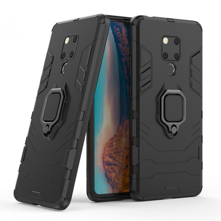 COOVY® Cover für Huawei Mate 20X Bumper Case, Plastik + TPU-Silikon, extra stark, Anti-Shock, Stand Funktion + Magnethalter