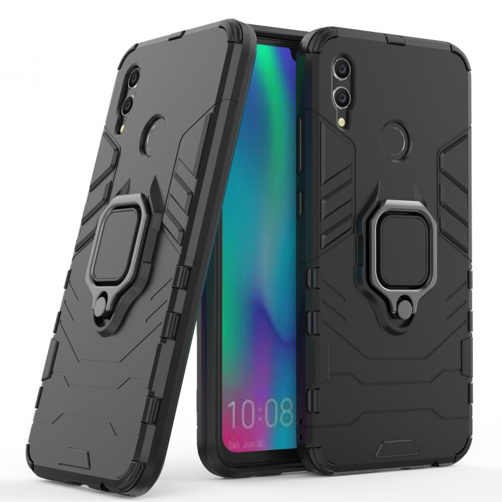COOVY® Cover für Huawei Honor 10 lite Bumper Case, Plastik + TPU-Silikon, extra stark, Anti-Shock, Stand Funktion + Magnethalter