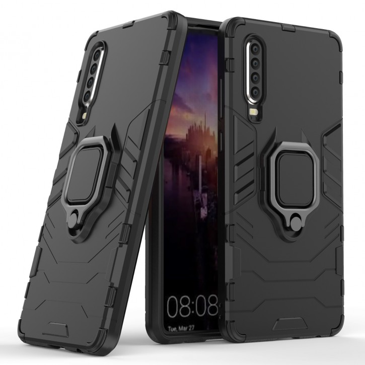 COOVY® Cover für Huawei P30 Bumper Case, Plastik + TPU-Silikon, extra stark, Anti-Shock, Stand Funktion + Magnethalter