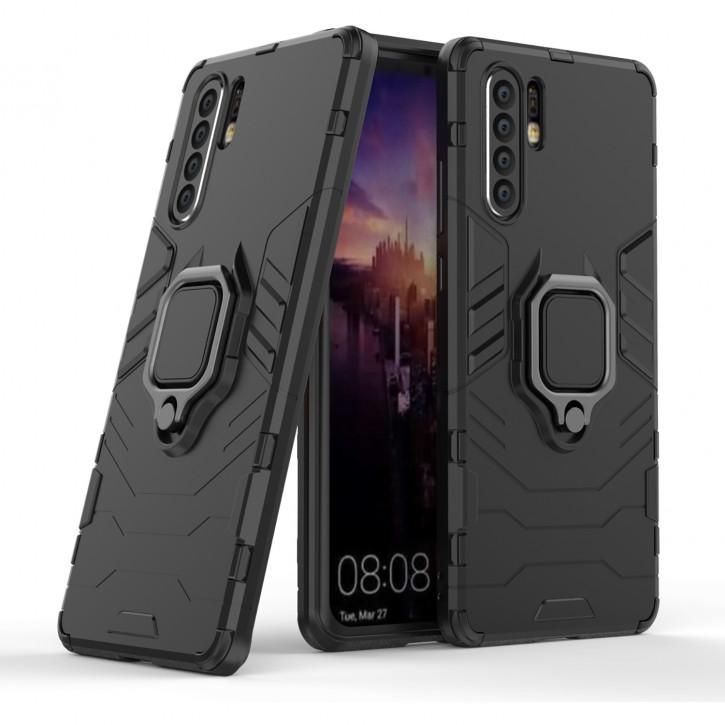 COOVY® Cover für Huawei P30 pro Bumper Case, Plastik + TPU-Silikon, extra stark, Anti-Shock, Stand Funktion + Magnethalter