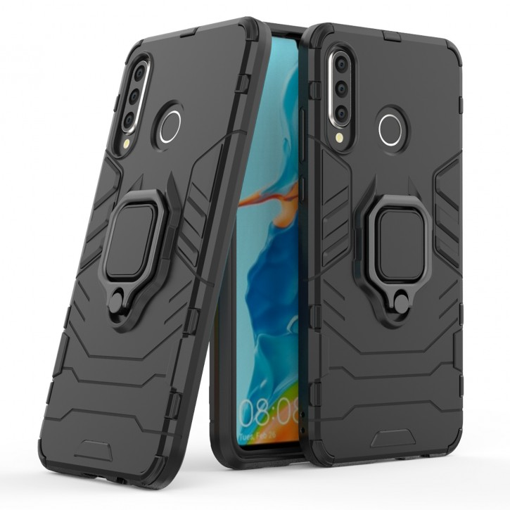 COOVY® Cover für Huawei P30 lite/  NOVA 4E Bumper Case, Plastik + TPU-Silikon, extra stark, Anti-Shock, Stand Funktion + Magnethalter kompatibel |