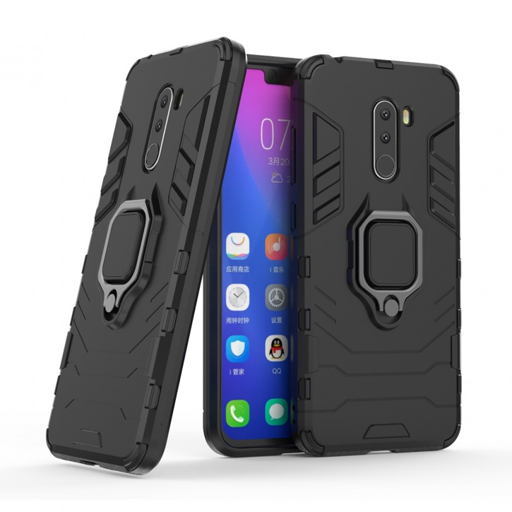 COOVY® Cover für Xiaomi Pocophone F1 Bumper Case, Plastik + TPU-Silikon, extra stark, Anti-Shock, Stand Funktion + Magnethalter