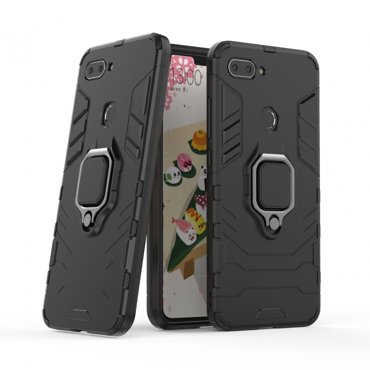 COOVY® Cover für Xiaomi Mi 8 lite Bumper Case, Plastik + TPU-Silikon, extra stark, Anti-Shock, Stand Funktion + Magnethalter
