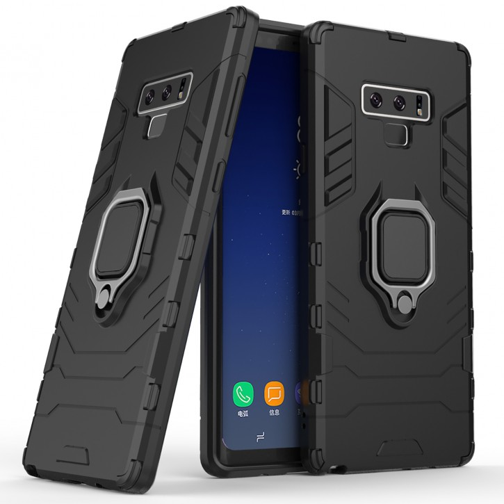 COOVY® Cover für Samsung Galaxy Note 9 SM-N960F / SM-N960F/DS Bumper Case, Plastik + TPU-Silikon, extra stark, Anti-Shock, Stand Funktion + Magnethalter