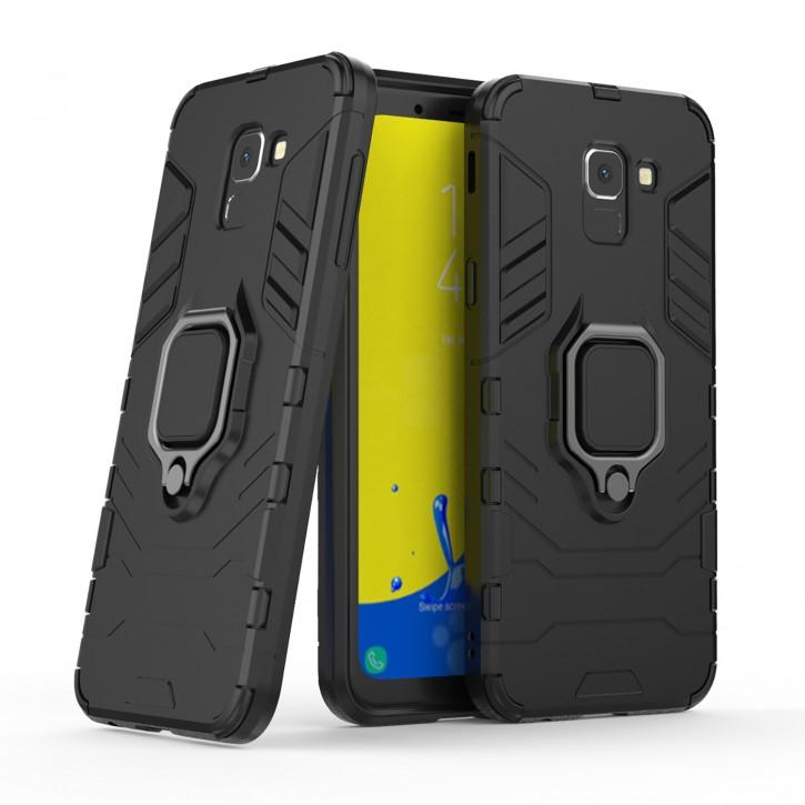 COOVY® Cover für Samsung Galaxy J6 SM-J600 / SM-J600F/DS (Model 2018) Bumper Case, Plastik + TPU-Silikon, extra stark, Anti-Shock, Stand Funktion + Magnethalter