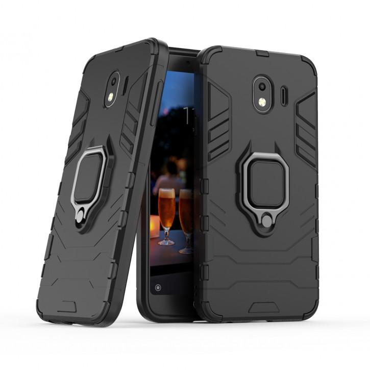 COOVY® Cover für Samsung Galaxy J4 SM-J400F/DS / SM-J400G/DS (Model 2018) Bumper Case, Plastik + TPU-Silikon, extra stark, Anti-Shock, Stand Funktion + Magnethalter kompatibel |