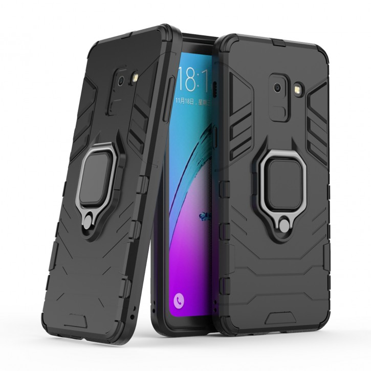 COOVY® Cover für Samsung Galaxy A8 SM-A530 / SM-A530N / SM-A530F/DS (Model 2018) Bumper Case, Plastik + TPU-Silikon, extra stark, Anti-Shock, Stand Funktion + Magnethalter