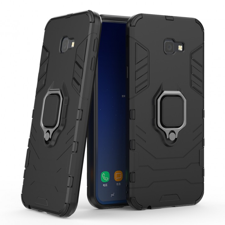 COOVY® Cover für Samsung Galaxy J4 + plus SM-J415F/DS / SM-J415FN/DS (Model 2018) Bumper Case, Plastik + TPU-Silikon, extra stark, Anti-Shock, Stand Funktion + Magnethalter