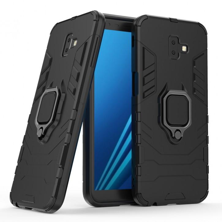 COOVY® Cover für Samsung Galaxy J6 + plus SM-J610FN / SM-J610G/DS (Model 2018) Bumper Case, Plastik + TPU-Silikon, extra stark, Anti-Shock, Stand Funktion + Magnethalter kompatibel  