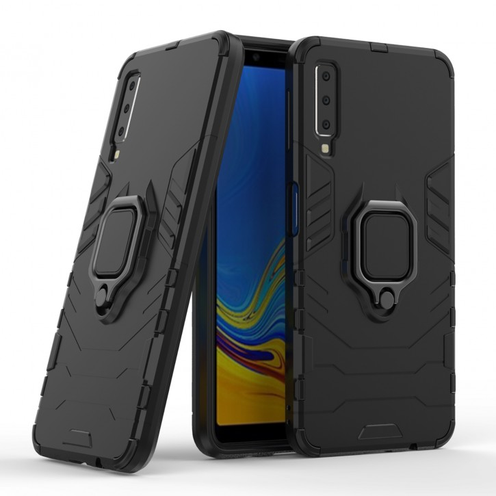 COOVY® Cover für Samsung Galaxy A7 SM-A750 / SM-A750FN/DS (Model 2018) Bumper Case, Plastik + TPU-Silikon, extra stark, Anti-Shock, Stand Funktion + Magnethalter