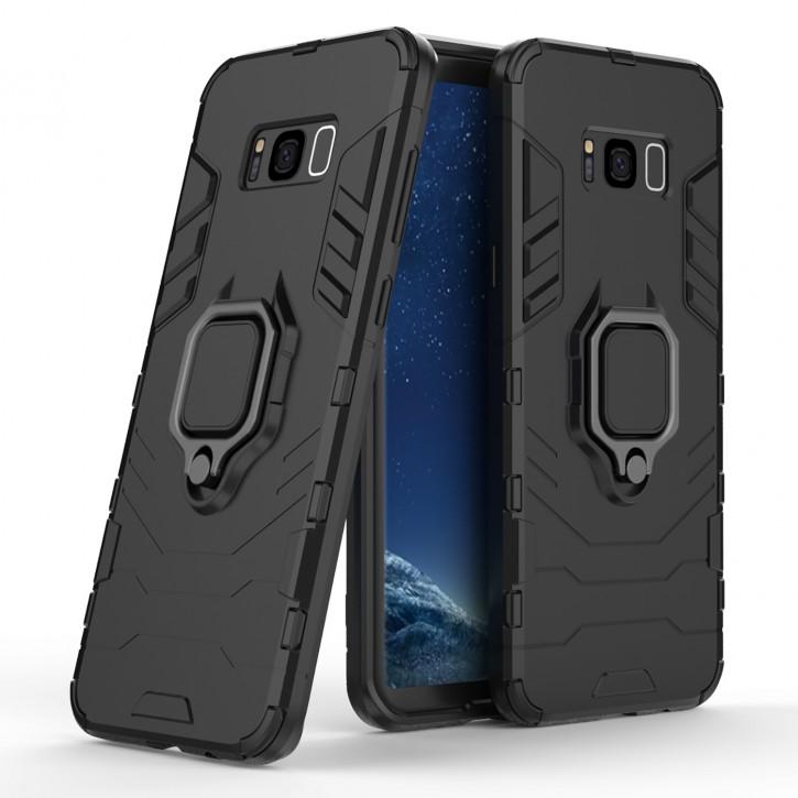 COOVY® Cover für Samsung Galaxy S8 + plus SM-G955F / SM-G955FD Bumper Case, Plastik + TPU-Silikon, extra stark, Anti-Shock, Stand Funktion + Magnethalter kompatibel  