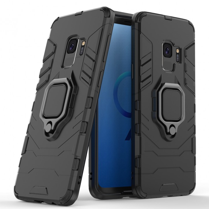 COOVY® Cover für Samsung Galaxy S9 SM-G960F / SM-G960F/DS Bumper Case, Plastik + TPU-Silikon, extra stark, Anti-Shock, Stand Funktion + Magnethalter