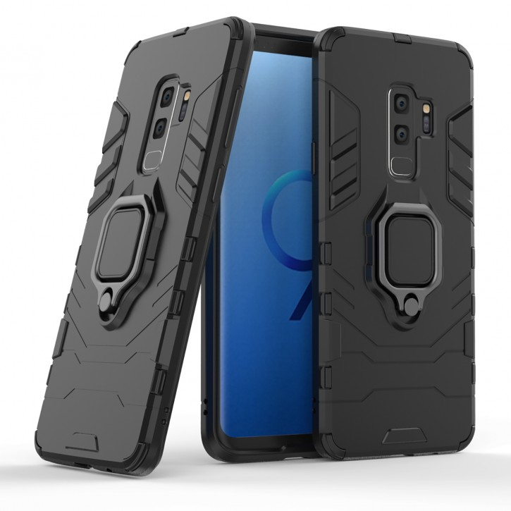 COOVY® Cover für Samsung Galaxy S9 + plus SM-G965F / SM-G965F/DS Bumper Case, Plastik + TPU-Silikon, extra stark, Anti-Shock, Stand Funktion + Magnethalter