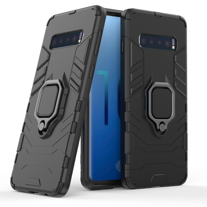 COOVY® Cover für Samsung Galaxy S10 SM-G973F Bumper Case, Plastik + TPU-Silikon, extra stark, Anti-Shock, Stand Funktion + Magnethalter