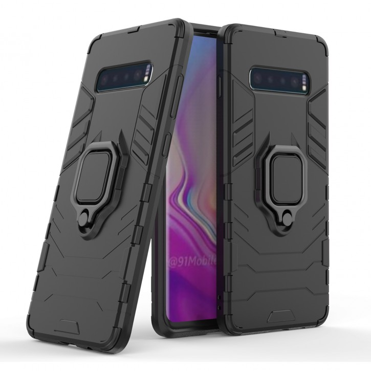 COOVY® Cover für Samsung Galaxy S10 + plus SM-G975F Bumper Case, Plastik + TPU-Silikon, extra stark, Anti-Shock, Stand Funktion + Magnethalter