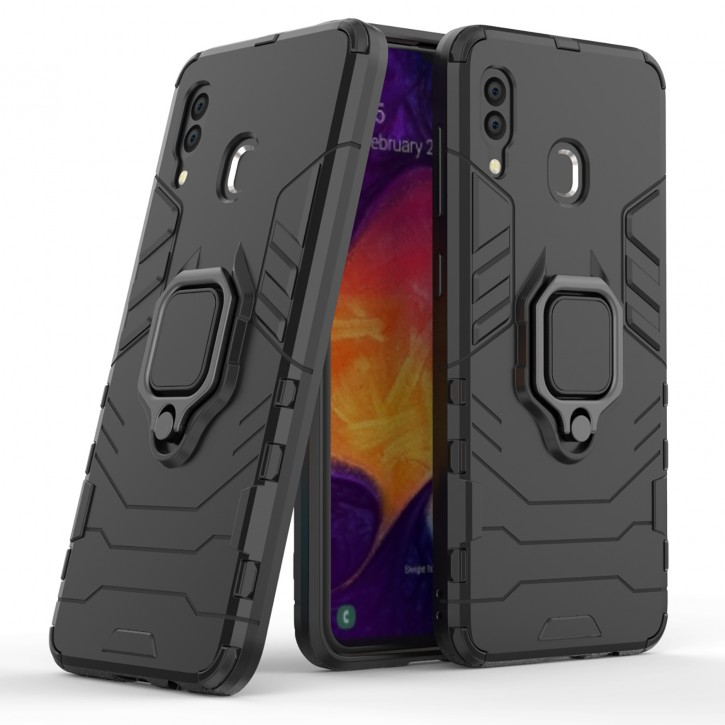 COOVY® Cover für Samsung Galaxy A20 SM-A205F/DS / A30 SM-A305F/DS Bumper Case, Plastik + TPU-Silikon, extra stark, Anti-Shock, Stand Funktion + Magnethalter