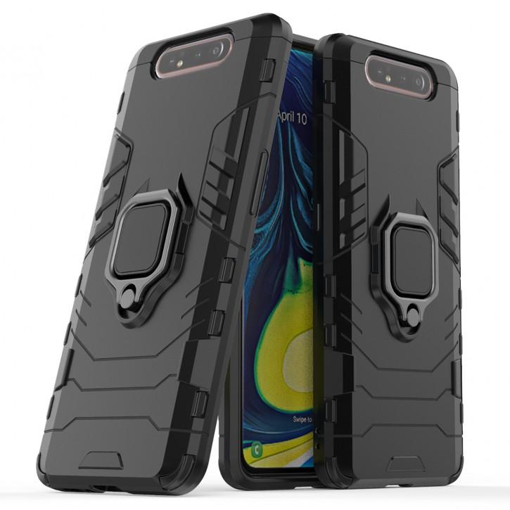COOVY® Cover für Samsung Galaxy A80 SM-A805F/DS A90 Bumper Case, Plastik + TPU-Silikon, extra stark, Anti-Shock, Stand Funktion + Magnethalter