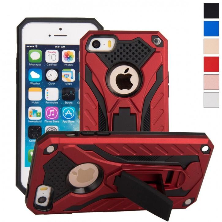 COOVY® Cover für Apple iPhone 5 / 5s / SE Case, Hülle Doppelschicht aus Plastik + TPU-Silikon, extra stark, Anti-Shock, Standfunktion