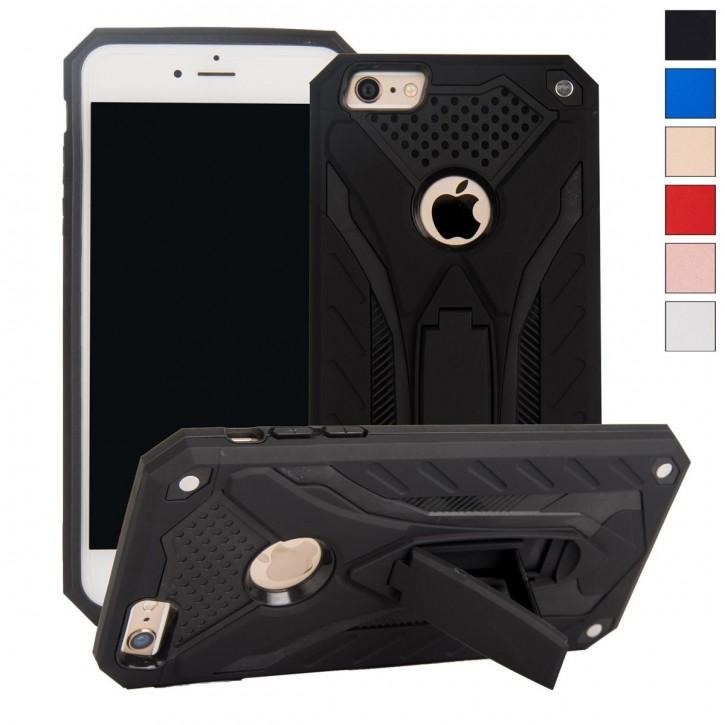 COOVY® Cover für Apple iPhone 6 / 6s Case, Hülle Doppelschicht aus Plastik + TPU-Silikon, extra stark, Anti-Shock, Standfunktion
