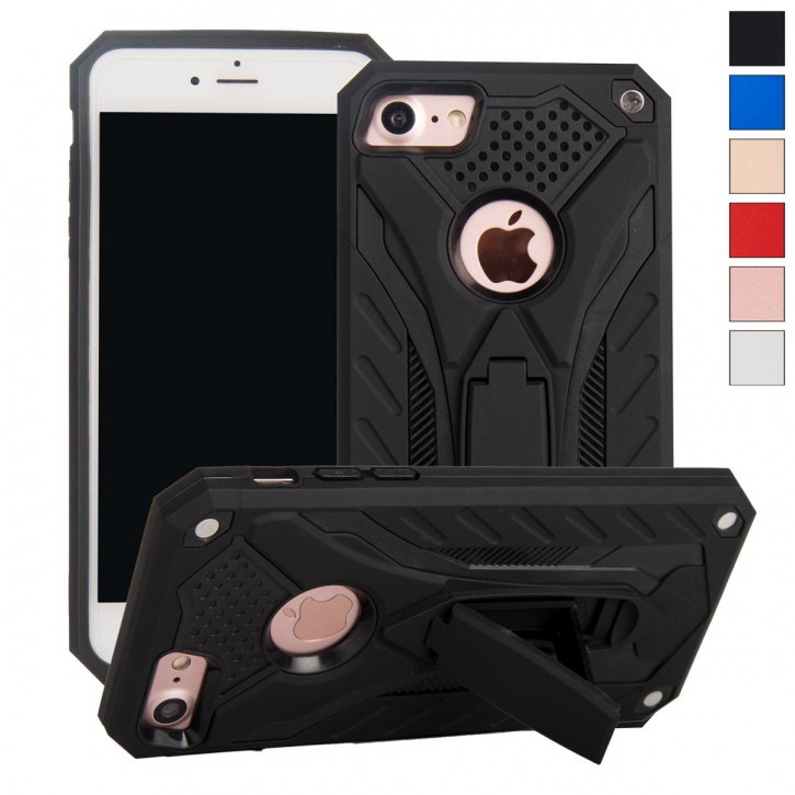 COOVY® Cover für Apple iPhone 7 / 8 Case, Hülle Doppelschicht aus Plastik + TPU-Silikon, extra stark, Anti-Shock, Standfunktion