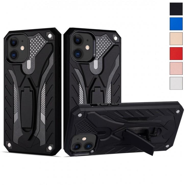 COOVY® Cover für Apple iPhone 11 Bumper Case, Hülle Doppelschicht aus Plastik + TPU-Silikon, extra stark, Anti-Shock, Standfunktion |
