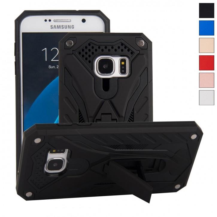 COOVY® Cover für Samsung Galaxy S7 SM-G930F SM-G930 Bumper Case, Hülle Doppelschicht aus Plastik + TPU-Silikon, extra stark, Anti-Shock, Standfunktion |