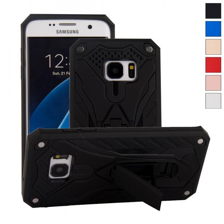 COOVY® Cover für Samsung Galaxy S7 EDGE SM-G935F SM-G935 Bumper Case, Hülle Doppelschicht aus Plastik + TPU-Silikon, extra stark, Anti-Shock, Standfunktion  