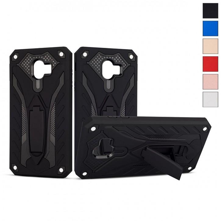 COOVY® Cover für Samsung Galaxy J4 SM-J400F/DS / SM-J400G/DS (Model 2018) Bumper Case, Hülle Doppelschicht aus Plastik + TPU-Silikon, extra stark, Anti-Shock, Standfunktion |