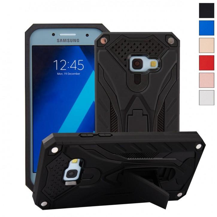 COOVY® Cover für Samsung Galaxy A3 SM-A320 / SM-A320F (Model 2017) Bumper Case, Hülle Doppelschicht aus Plastik + TPU-Silikon, extra stark, Anti-Shock, Standfunktion  