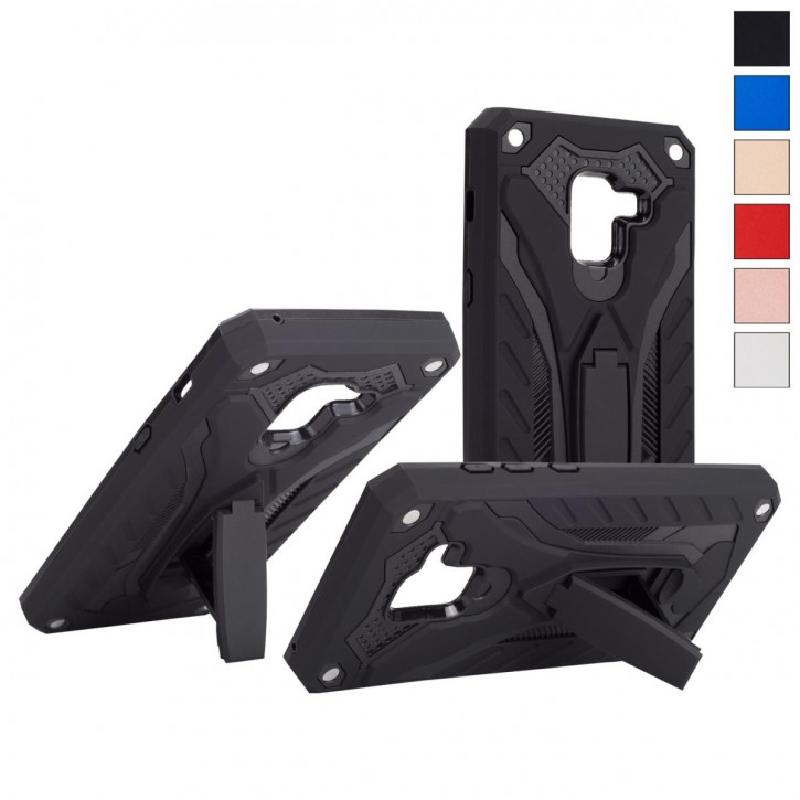 COOVY® Cover für Samsung Galaxy A8 SM-A530 / SM-A530N / SM-A530F/DS (Model 2018) Case, Hülle Doppelschicht aus Plastik + TPU-Silikon, extra stark, Anti-Shock, Standfunktion