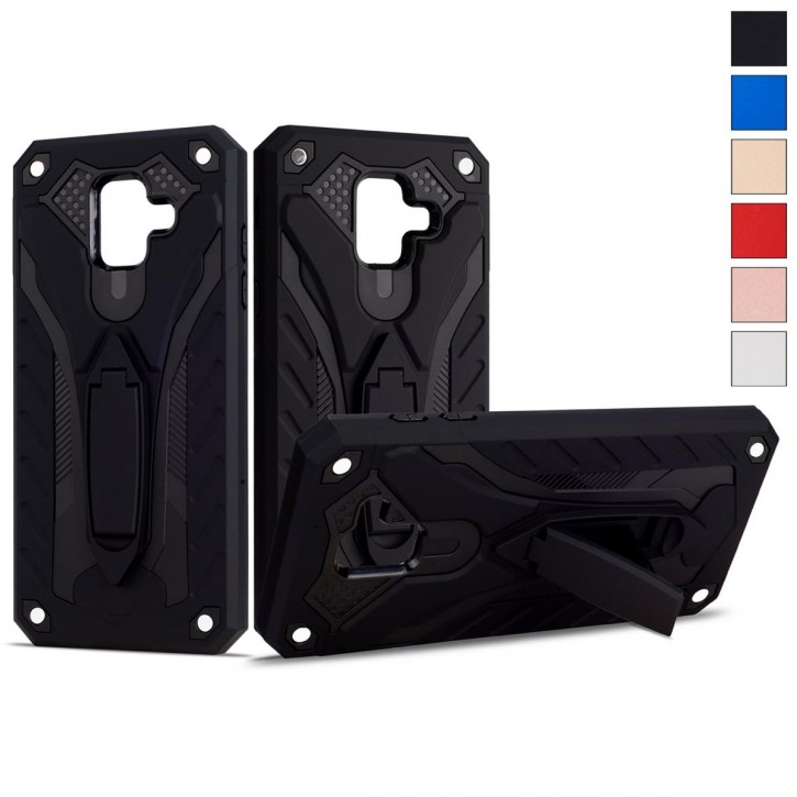 COOVY® Cover für Samsung Galaxy A6 SM-A600 / SM-A600F/DS (Model 2018) Case, Hülle Doppelschicht aus Plastik + TPU-Silikon, extra stark, Anti-Shock, Standfunktion