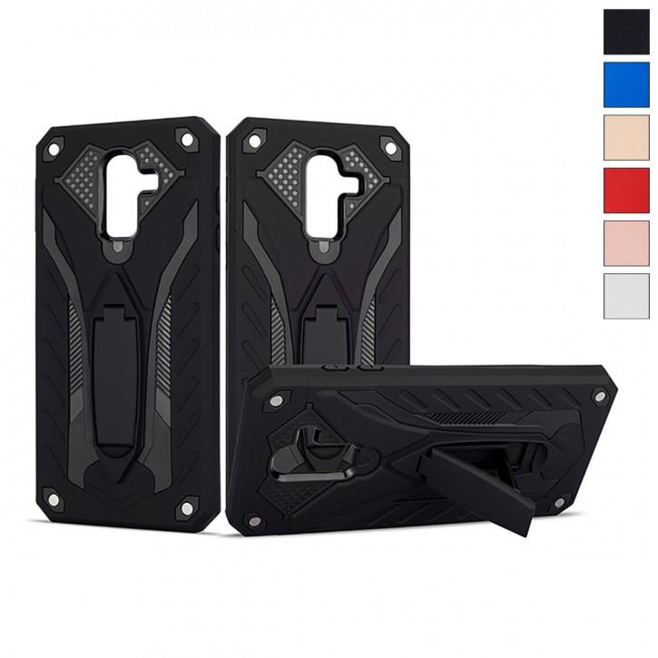 COOVY® Cover für Samsung Galaxy J8 SM-J810 / SM-J810F/DS (Model 2018) Bumper Case, Hülle Doppelschicht aus Plastik + TPU-Silikon, extra stark, Anti-Shock, Standfunktion |