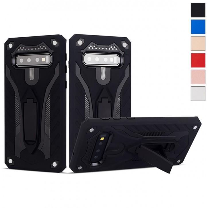 COOVY® Cover für Samsung Galaxy S10 SM-G973F Bumper Case, Hülle Doppelschicht aus Plastik + TPU-Silikon, extra stark, Anti-Shock, Standfunktion  