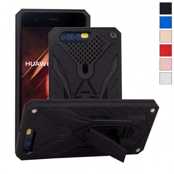 COOVY® Cover für Huawei P10 + plus Bumper Case, Hülle Doppelschicht aus Plastik + TPU-Silikon, extra stark, Anti-Shock, Standfunktion |